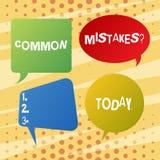 Texte d'?criture ?crivant la question d'erreurs communes Concept signifiant l'acte de r?p?tition ou le blanc mal orient? ou faux  illustration de vecteur
