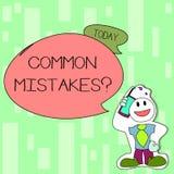 Texte d'?criture ?crivant la question d'erreurs communes Concept signifiant l'acte de r?p?tition ou le smiley mal orient? ou faux illustration libre de droits