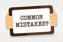 Texte d'?criture ?crivant la question d'erreurs communes Concept signifiant l'acte de r?p?tition ou la couleur mal orient?e ou fa illustration libre de droits
