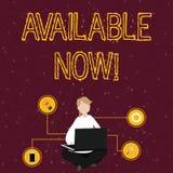 Texte d'?criture de Word disponible maintenant Le concept d'affaires pour vous peut le trouver pour obtenir ou fonctionnel ? cett illustration stock