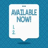 Texte d'?criture disponible maintenant Le concept vous signifiant peut le trouver pour obtenir ou fonctionnel à cet espace vide d illustration libre de droits