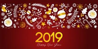 Texte d'or de 2019 bonnes années sur la bannière rouge foncé de fond illustration libre de droits