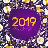 Texte d'or de 2019 bonnes années sur le fond pourpre foncé illustration de vecteur