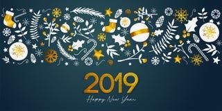 Texte d'or de 2019 bonnes années sur Teal Background Banner foncé illustration stock