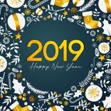 Texte d'or de 2019 bonnes années sur Teal Background foncé illustration libre de droits