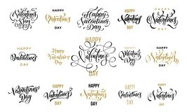 Texte d'or de calligraphie de carte de voeux de Valentine Day pour le calibre de salutation de design de carte Noir heureux le fl Photographie stock