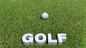 Texte 3D de golf et boule sur l'herbe Photographie stock