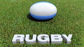 Texte 3D de rugby et boule sur l'herbe Image stock