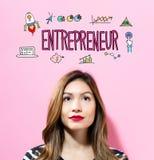 Texte d'entrepreneur avec la jeune femme Photos libres de droits
