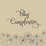Texte d'Espagnol de Feliz Cumpleanos Happy Birthday illustration libre de droits