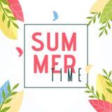 Texte d'heure d'été dans la bannière de décor de cadre et de feuillage illustration libre de droits