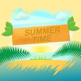 Texte d'heure d'été sur le label en bois photo libre de droits