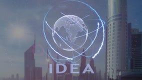 Texte d'idée avec l'hologramme 3d de la terre de planète contre le contexte de la métropole moderne illustration de vecteur