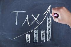 Texte d'impôts avec la main de femme photo stock