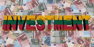 Texte d'investissement avec le drapeau de la Lithuanie sur l'illustration d'euros illustration stock