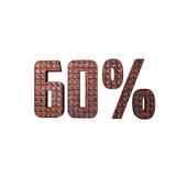 Texte 3D métallique de 60% Images stock