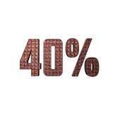 Texte 3D métallique de 40% Photos stock
