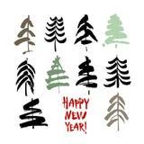 Texte d'an neuf heureux Calligraphie de brosse de noir et de couleur sur le fond blanc avec les arbres de Noël abstraits illustration de vecteur