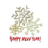 Texte d'an neuf heureux Flocon de neige blanc sur le fond blanc Calligraphie blanche, grise et rouge de brosse Carte de vacances  illustration stock