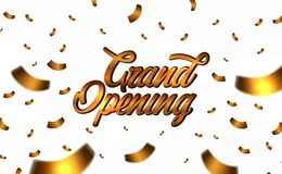 Texte d'or d'ouverture officielle avec tomber vers le bas confettis d'or illustration stock