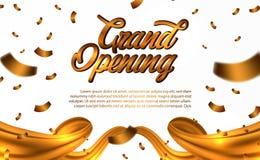 Texte d'or d'ouverture officielle avec tomber vers le bas confettis d'or et or de soie d'or et illustration stock