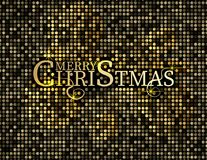 Texte d'or sur le fond noir Lettrage de Joyeux Noël et de bonne année pour la carte de voeux d'invitation et, les copies et les a Photographie stock libre de droits