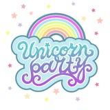 Texte d'Unicorn Party comme logotype, insigne, correction, icône d'isolement sur le fond illustration stock