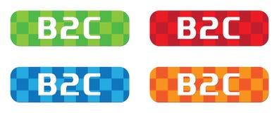 Texte de B2C, sur le rectangle, signe de timbre de modèle de zigzag Photo stock