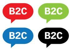 Texte de B2C, sur le signe de bulle de la parole de rectangle Images libres de droits