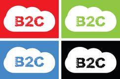 Texte de B2C, sur le signe de bulle de nuage Photos libres de droits