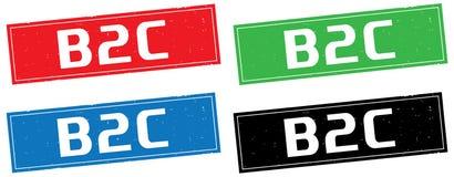 Texte de B2C, sur le signe de timbre de rectangle Images stock