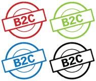 Texte de B2C, sur le signe simple rond de timbre Photos stock