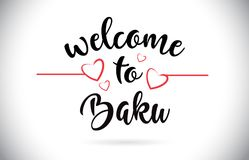 Texte de Baku Welcome To Message Vector avec les coeurs rouges Illustr d'amour illustration de vecteur