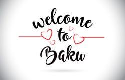 Texte de Baku Welcome To Message Vector avec les coeurs rouges Illustr d'amour Photo libre de droits