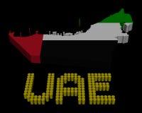 Texte de baril des EAU avec l'illustration de drapeau de carte Images libres de droits