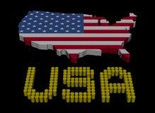 Texte de baril des Etats-Unis avec l'illustration de drapeau de carte Photographie stock libre de droits