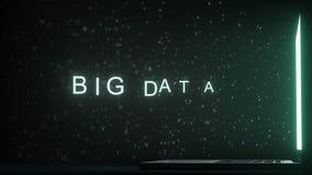 Texte de BIG DATA paraissant près de l'écran d'ordinateur portable Rendu 3d conceptuel photo stock