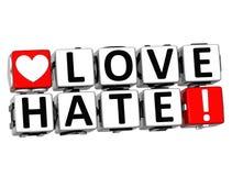 texte de bloc de cliquez ici de bouton de haine de l'amour 3D illustration libre de droits