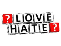 texte de bloc de cliquez ici de bouton de haine de l'amour 3D illustration stock
