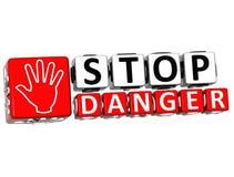 texte de bloc de main de danger de l'arrêt 3D Photo libre de droits
