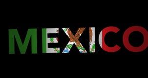 Texte de bourdonnement Mexique avec le drapeau banque de vidéos