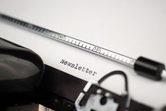 Texte de bulletin d'information sur la rétro machine à écrire Photographie stock