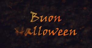Texte de Buon Halloween dans la dissolution italienne dans la poussière vers la gauche Image libre de droits