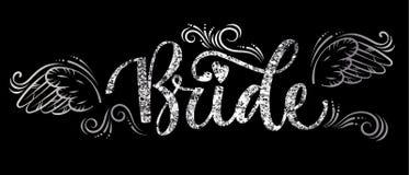 Texte de calligraphie d'étincelle d'argent de partie de peloton de jeune mariée - jeune mariée avec les courbes et le décor d'ail illustration stock