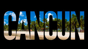 Texte de Cancun sur le fond noir Photo libre de droits
