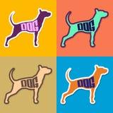 Texte de chien à l'intérieur d'une silhouette de chien Photos libres de droits