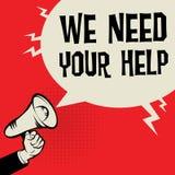 Texte de concept d'affaires de main de mégaphone nous avons besoin de votre aide illustration libre de droits