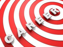 Texte de concept de carrière au-dessus de la cible rouge et blanche Images stock