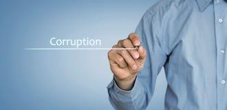 Texte de corruption écrit par homme images libres de droits