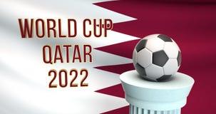 Texte de coupe du monde et ballon de football devant le drapeau du Qatar images stock